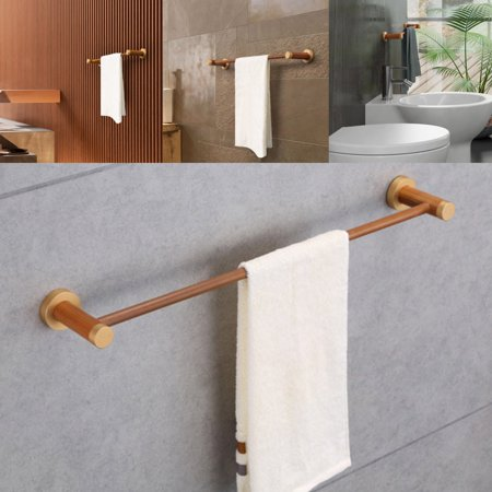 50 62cm solid wood towel rail holder home bathroom rack wall mounted waterproof. Black Bedroom Furniture Sets. Home Design Ideas