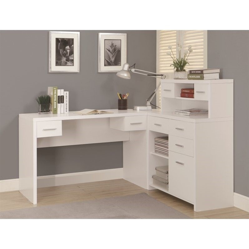 Monarch Hollow-Core L-Shaped Home Office Desk - White
