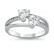 925 Sterling Silver Heart Shaped Ring With Cubic Zirconia