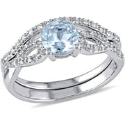 3/4 Carat T.G.W. Aquamarine and 1/6 Carat T.W. Diamond 10kt White Gold Infinity Design Bridal Set