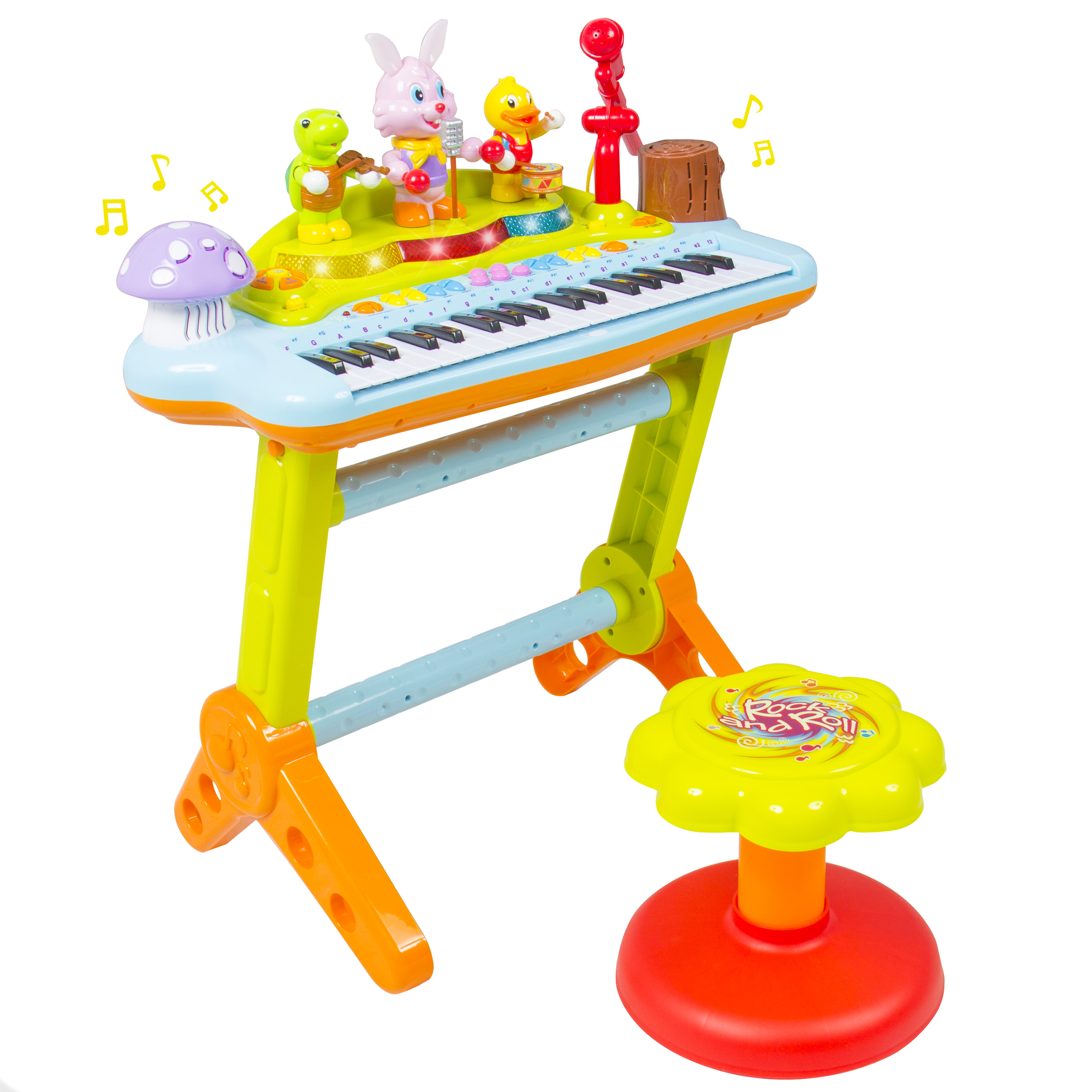 Kids Musical Electronic Keyboard Piano Organ Microphone, Stool, Teaching Light up Keys