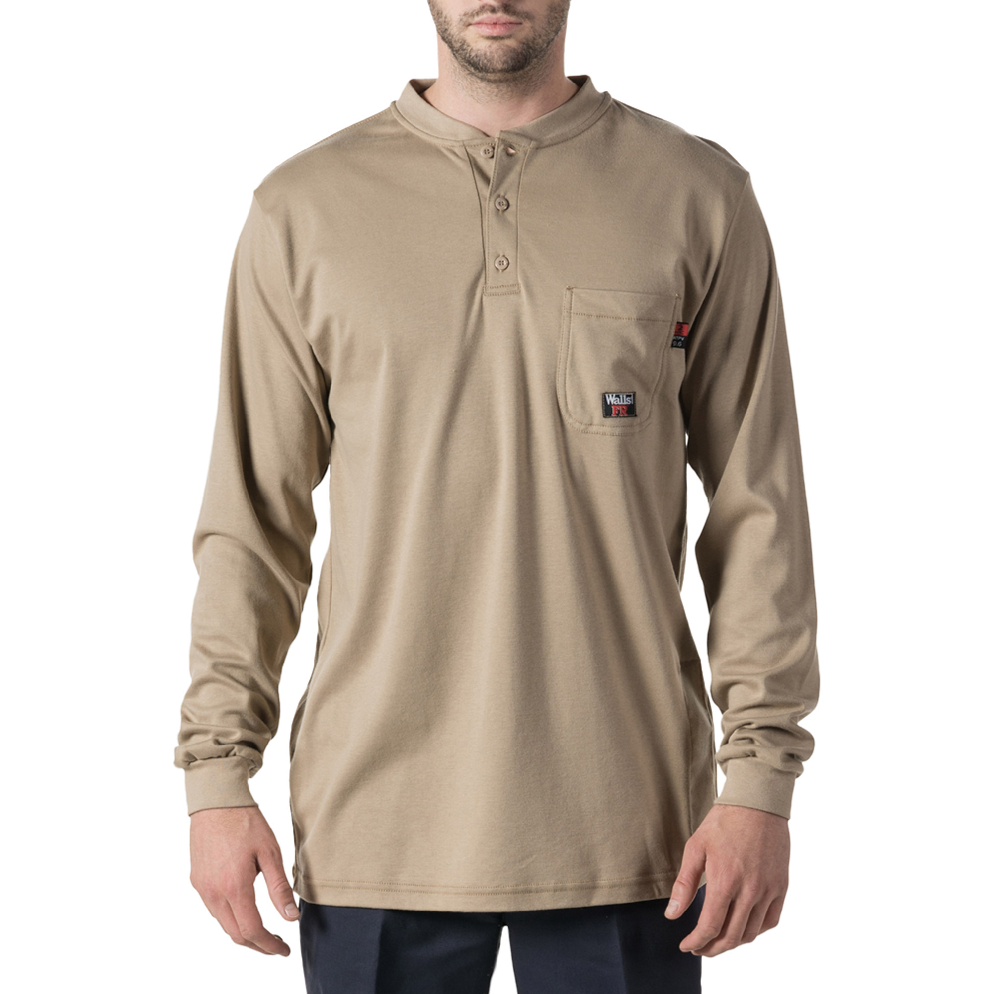 Big Men's Flame Resistant Long Sleeve Henley, HRC Level 2