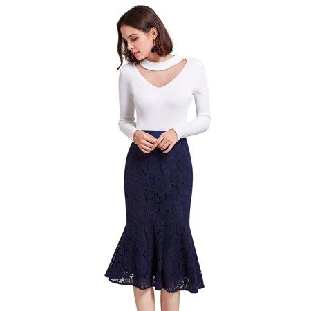 Alisa Pan Women's Elegant Mermaid Bodycon Career Suiting Lace Midi Pencil Skirt for Women 01141 Navy Blue Career Skirt Suit