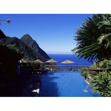 The Pool at the Ladera Resort Overlooking the Pitons, St. Lucia, Windward Islands Print Wall Art By Yadid (Ladera Spine Pool)