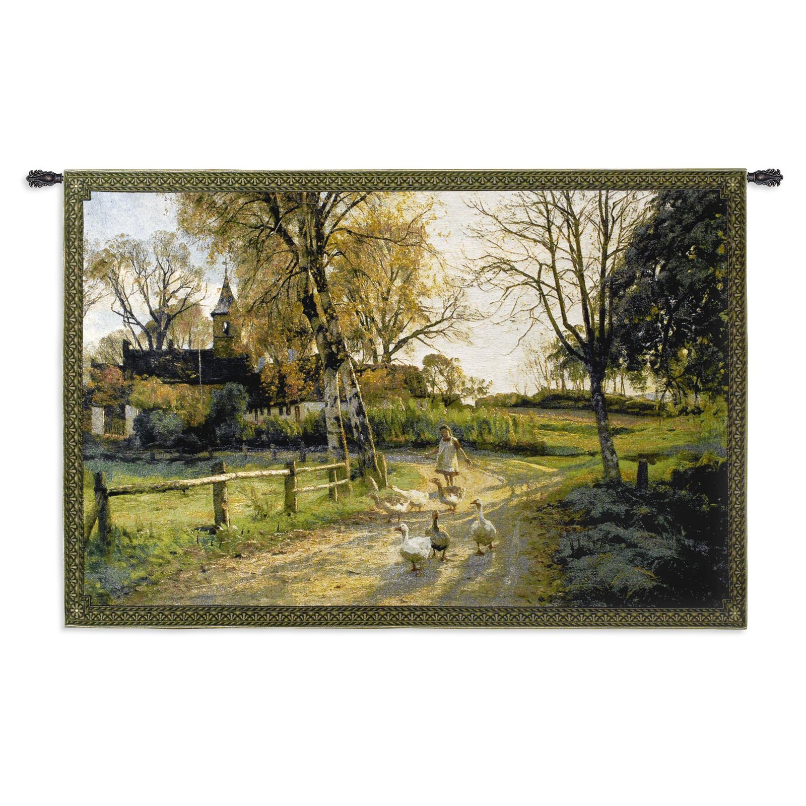 FineArtTapestries 1543-WH Goose Girl Medium Wall Tapestry