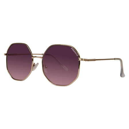"Piranha ""Zoom"" Womens Retro Light Gold Metal Octagon Sunglasses with Smoke Rose Gradient Lenses"