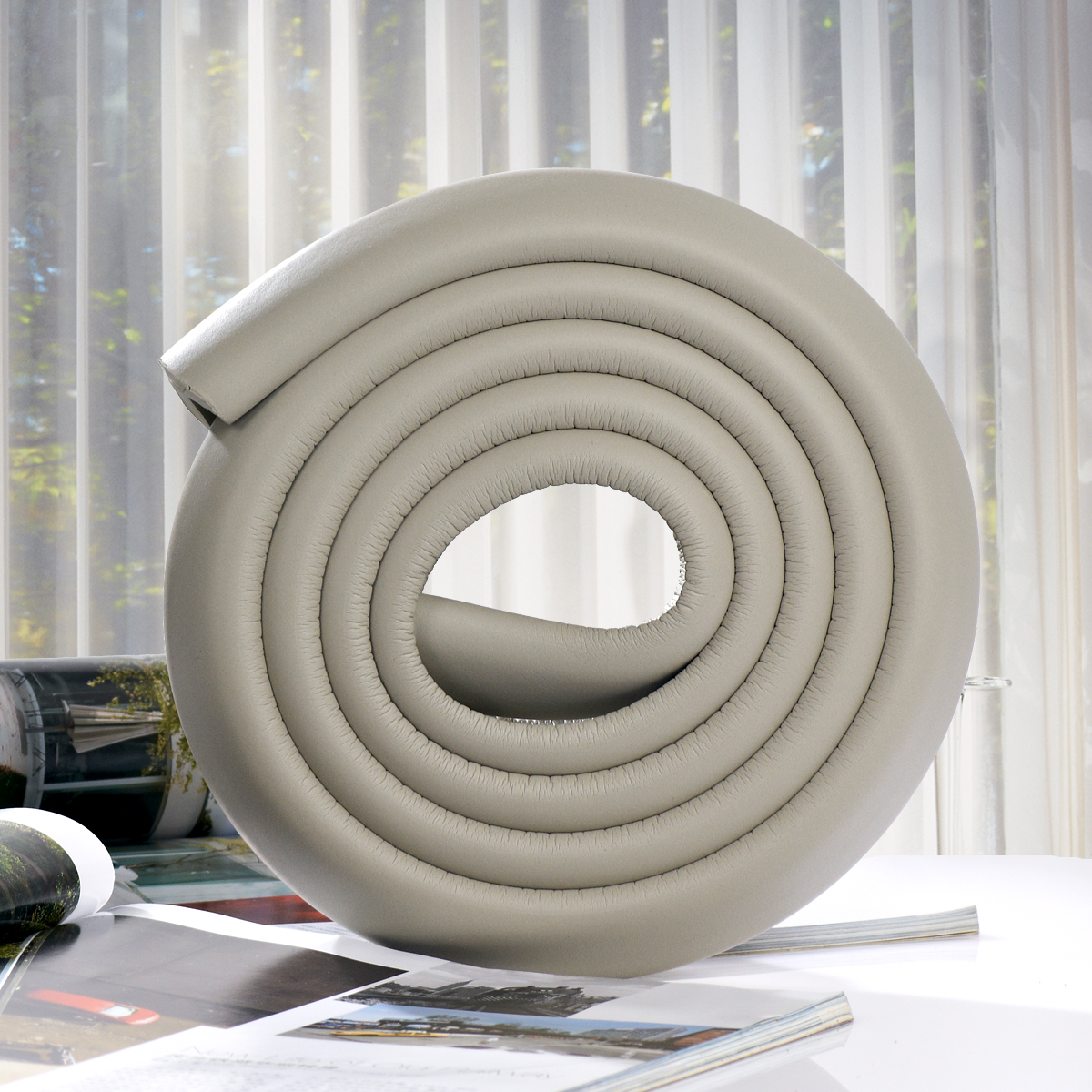2M L-shaped Thicken Safety Table Edge Corner Protector Guard Cushion Anti-collision Bumper Strip (Grey)