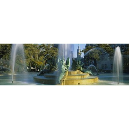 Fountain In Front Of A Building Logan Circle City Hall Philadelphia Pennsylvania USA Canvas Art - Panoramic Images (18 x 6)