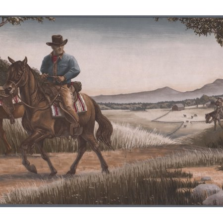 Cowboys Riding Horses Hunting Dogs in the Field Grey Wallpaper Border Retro Design, Roll 15