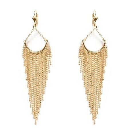 18K Gold Plated Fringe Teardrop Drop Earrings