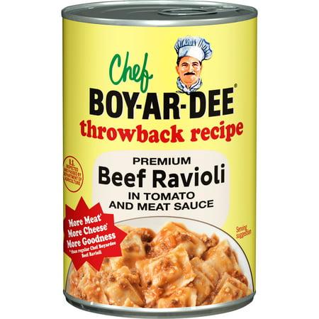 Chef Boyardee Throwback Recipe Premium Beef Ravioli in Tomato and Meat Sauce, 15
