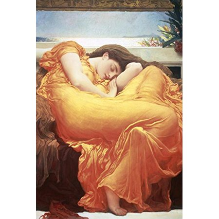 Flaming June Painting - Flaming June by Lord Frederic Leighton 36x24 Museum Art Print Poster