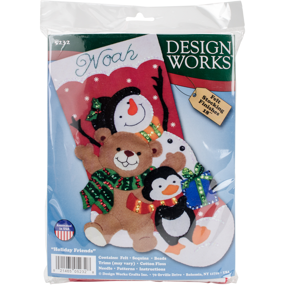 "Holiday Friends Stocking Felt Applique Kit, 18"" Long"