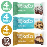 Kiss My Keto Bars — Low Carb (4g-Net), Low Sugar Protein Bars (Chocolate Variety, 12 Pack) | Keto Snack Bars with MCT Oils, Fiber, Protein