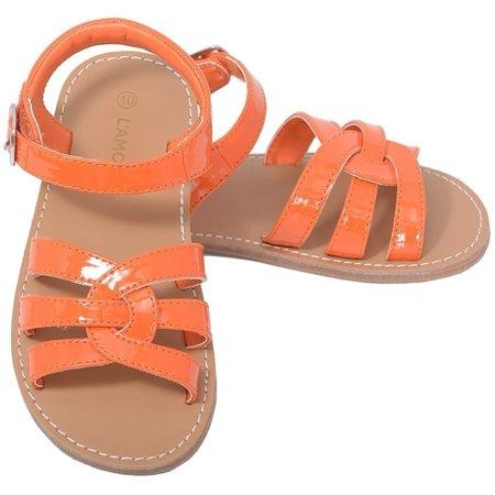 Patent Orange Woven Strap Summer Sandals Toddler Girls 5-10 - Orange Patent Sandals