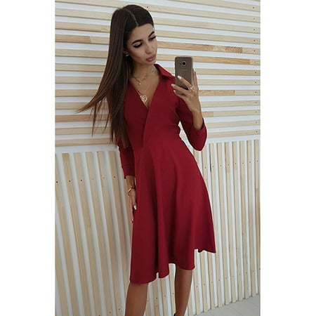 Women's Elegant Cocktail Maxi Dress for Women, 3/4 Sleeve Vintage Pleated Dress for Ladies, Red / Blue Solid Color V Neck Tunic Tops for Juniors