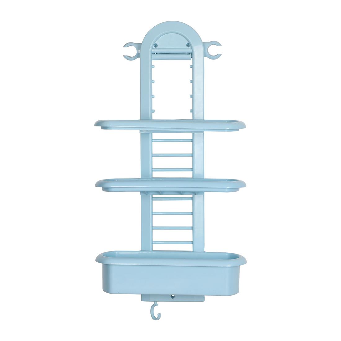Plastic 3 Tier Hanging Bathroom Tub Shower Shelf Organizer for Bathroom Blue - image 9 of 9