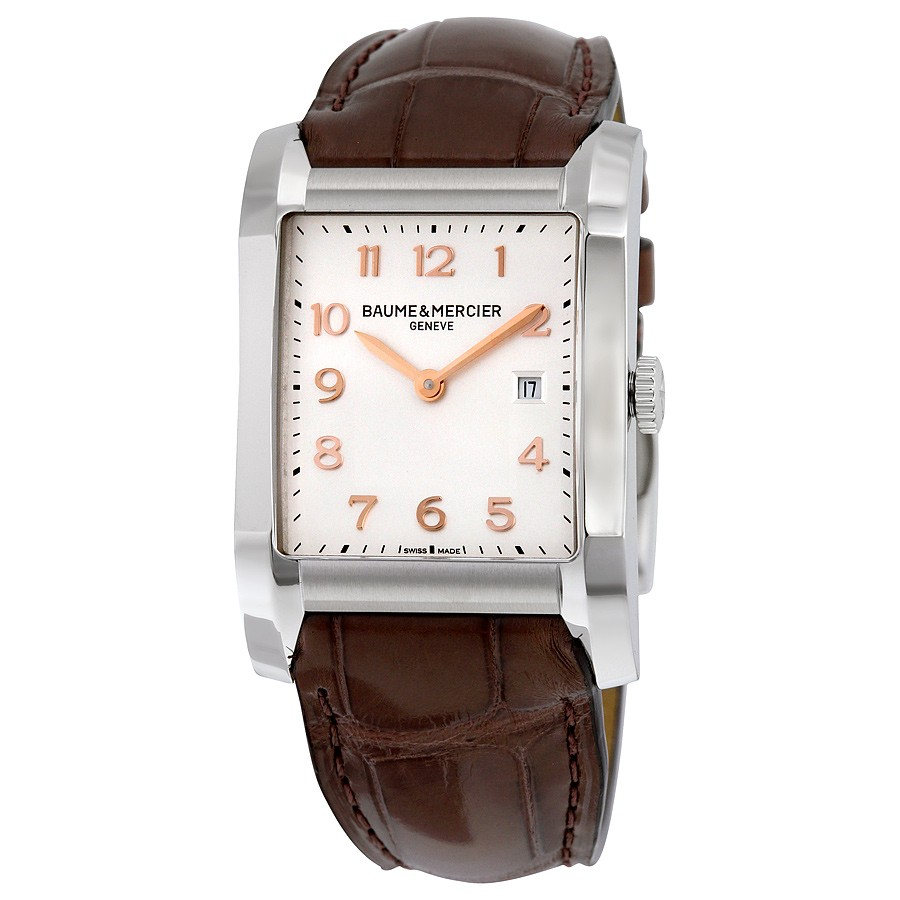 BAUME & MERCIER Hampton Silver Dial Brown Leather Ladies ...