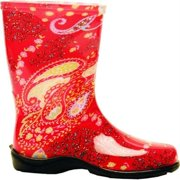 Size 10 Paisley Red Womens Tall Garden Boot