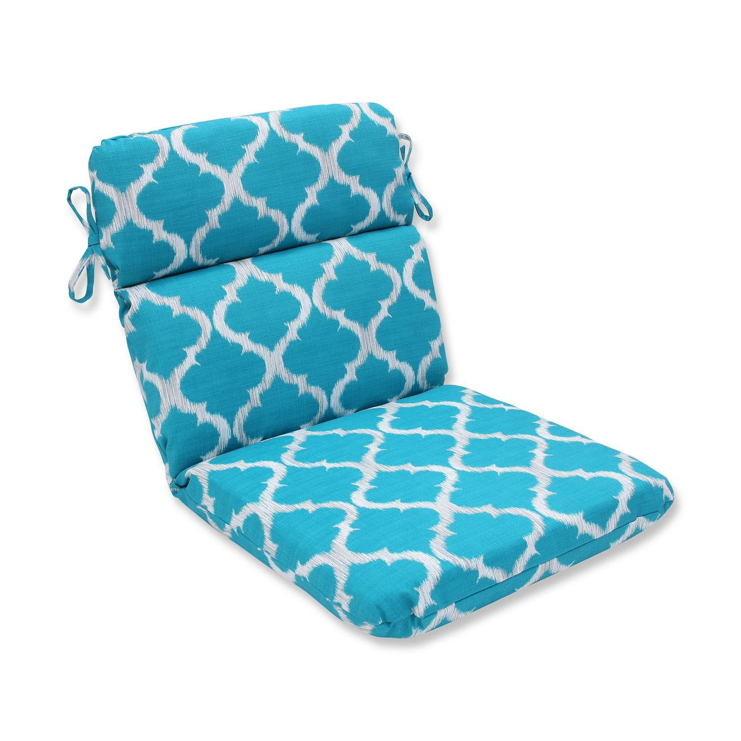"""21"""" x 40.5"""" Turquoise Geometry Outdoor Chair Cushion"""