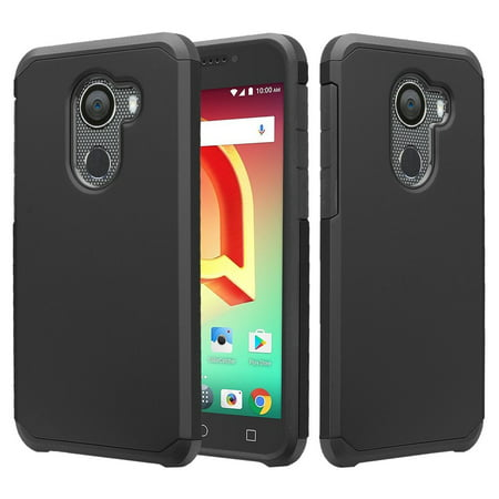 Jitterbug Smart 2 (5.5inch) Case, Shock Proof Hybrid Case [Temper Glass Screen Protector] Dual Layer Protective Phone Case Cover for Jitterbug Smart 2 (2018) - Black (Vodafone Smart 2 Case)