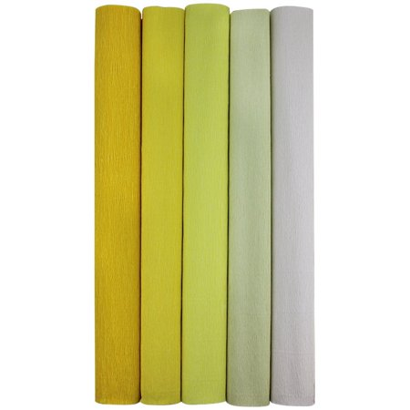 Just Artifacts Premium Crepe Paper Rolls - 8ft Length/20in Width (5pcs, Color: Shades of Yellow) - Crepe Paper Rolls