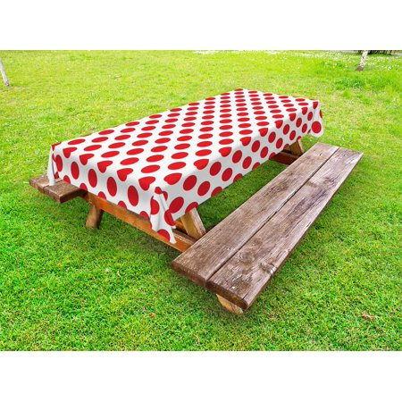 Geometric Outdoor Tablecloth, 50s 60s Old Pop Art Retro Vintage Polka Dots Rounds Circles Design Art Print, Decorative Washable Fabric Picnic Tablecloth, 58 X 120 Inches, Scarlet White, by Ambesonne - 50s Table