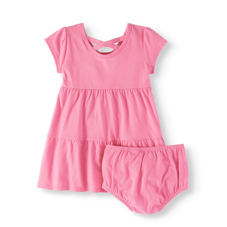 ca81c0b4b47d Healthtex - Baby Girl Criss-Cross Back Tiered Knit Dress - Walmart.com