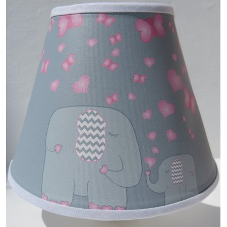 Elephant Night Lights with Pink Hearts and Butterflies / Elephant Wall Decor ()