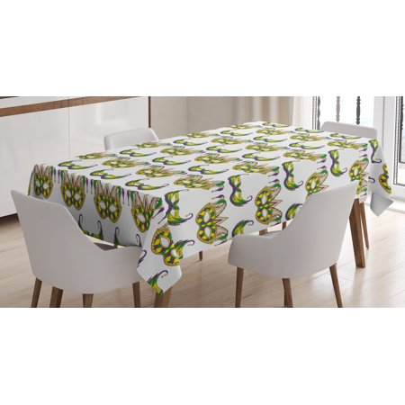Mardi Gras Tablecloth, Festive Pattern with Masks Traditional Carnival Celebration Costume, Rectangular Table Cover for Dining Room Kitchen, 52 X 70 Inches, Purple Green Yellow, by Ambesonne - Mardi Gras Tablecloth