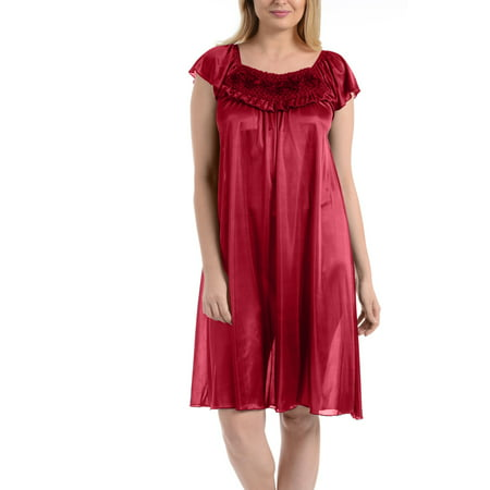Ezi Women's Satin Silk Ruffle Nightgown (Blue Womens Nightgown)