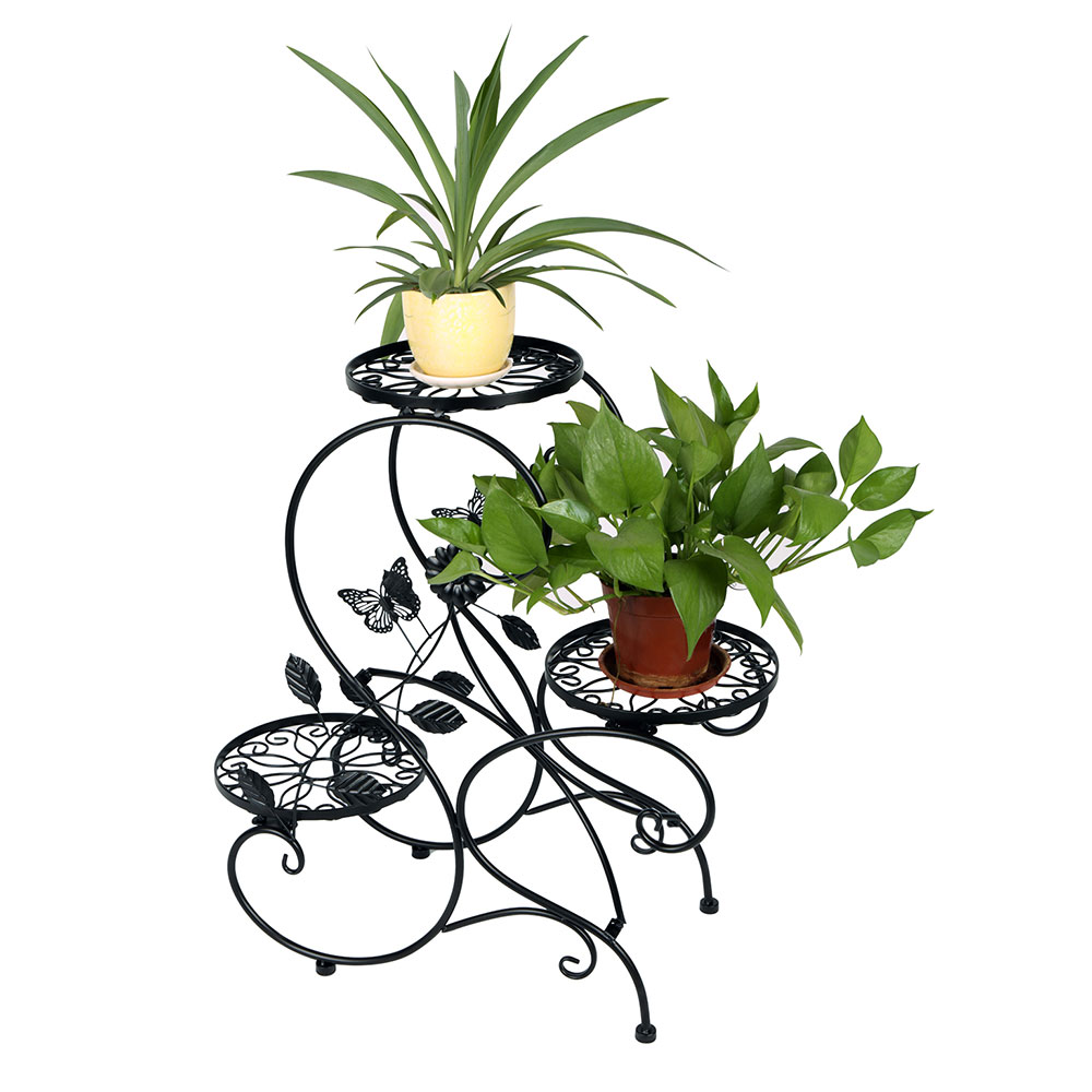 "3-tier Classic Plant Stand with Modern ""S"" Design (Black) by HLC"