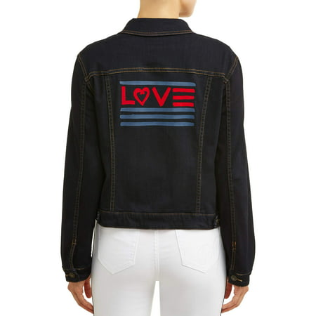 906a83107ba Ev1 From Ellen Degeneres - Love Flag Denim Jacket Women's (Dark Wash ...