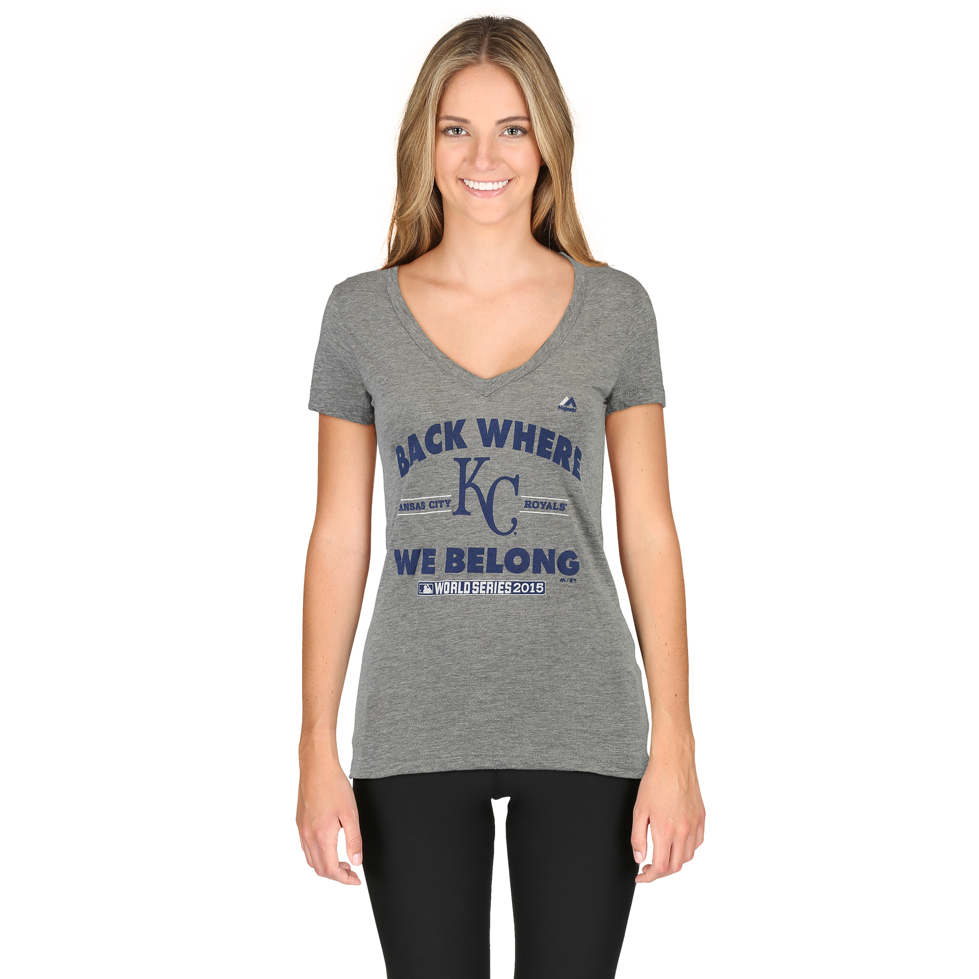 Kansas City Royals Majestic Women's Back Where We Belong T-Shirt - Gray
