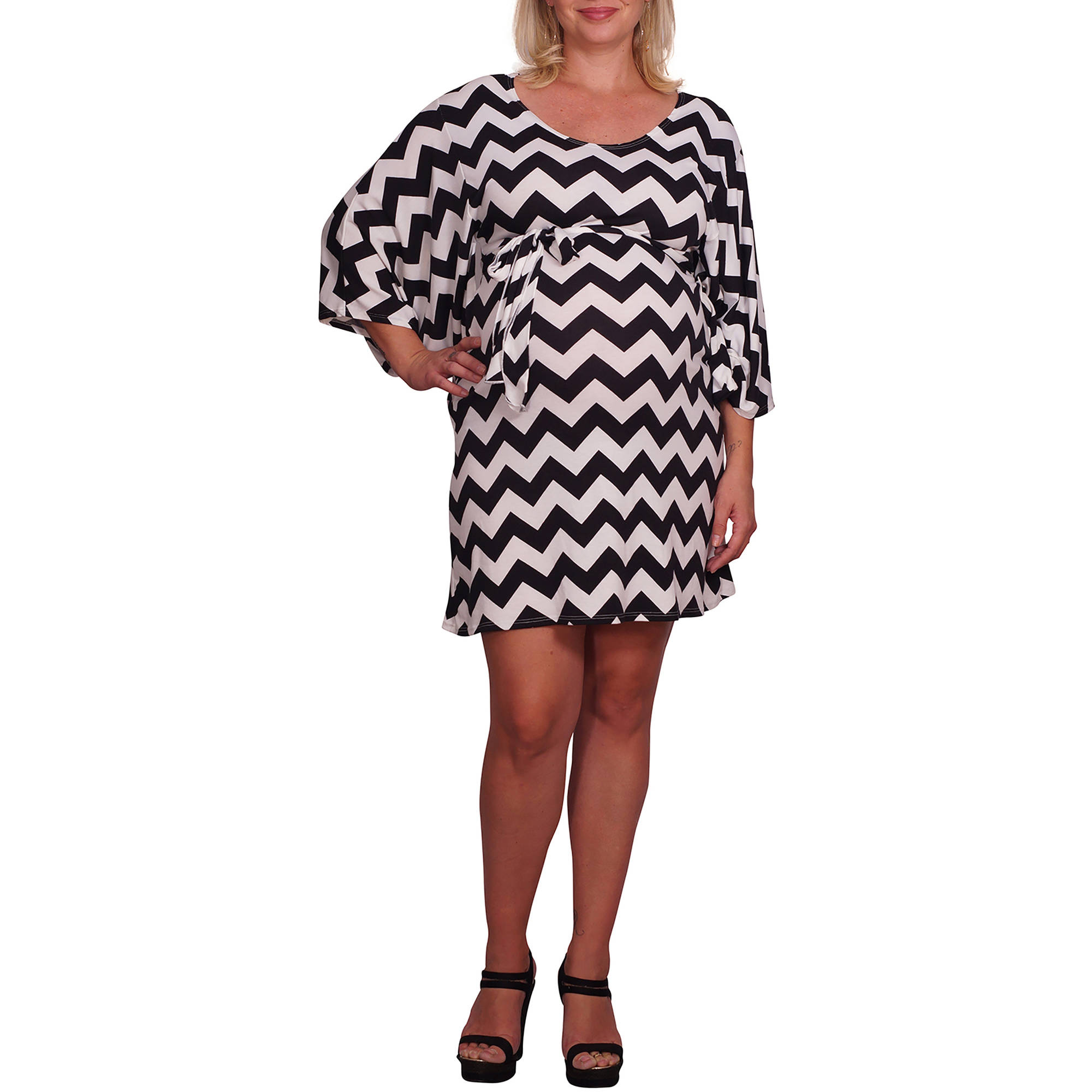 Mommylicious Maternity Belted Chevron Print Plus Maternity Dress