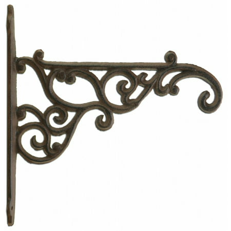 Iron Plant Hanger (Decorative Ornate Victorian Cast Iron Plant Hanger Hook - Rust Brown 8.375