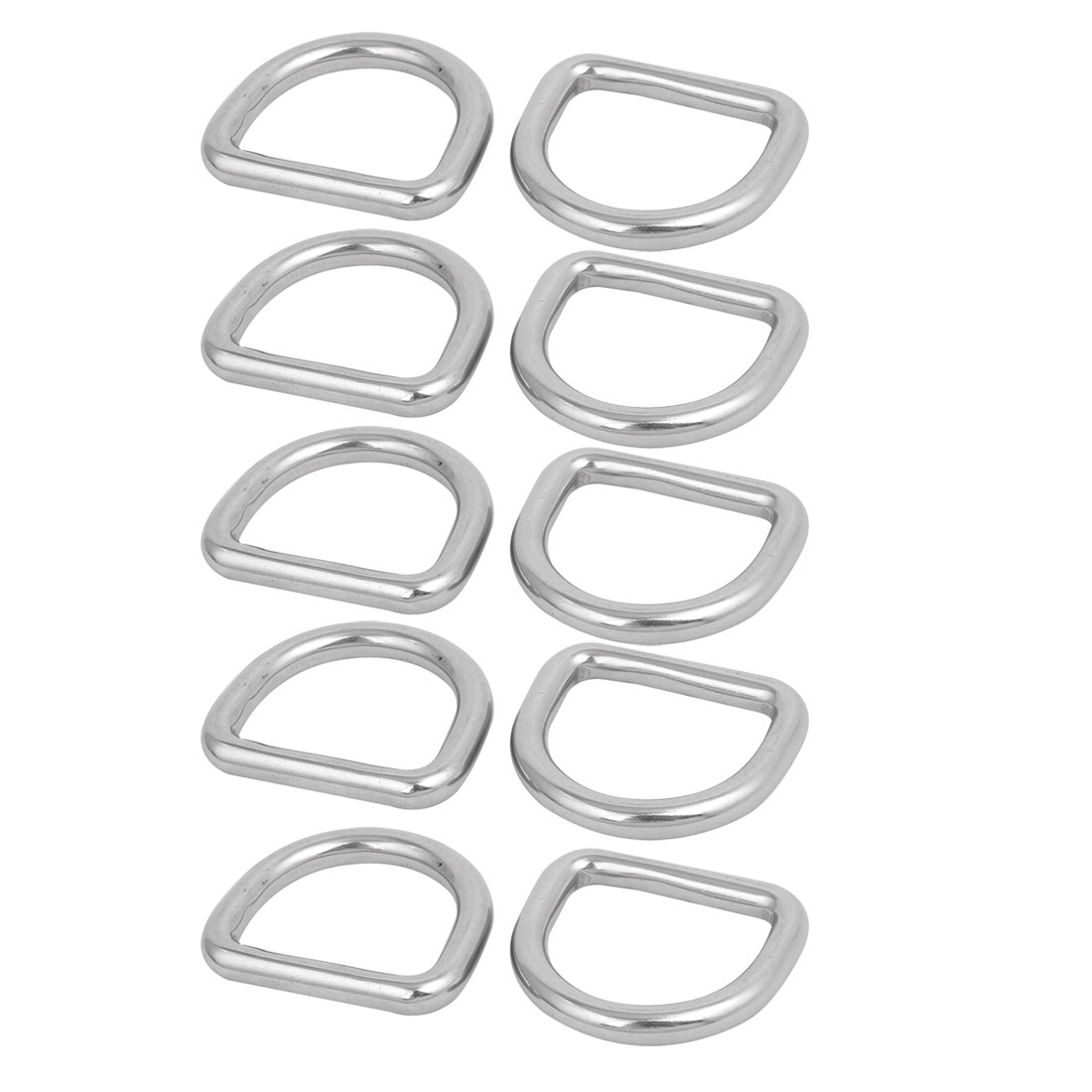 Unique Bargains 6mmx30mmx27mm 304 Stainless Steel Flat Typed D Welded Ring Silver Tone 10pcs - image 2 of 2