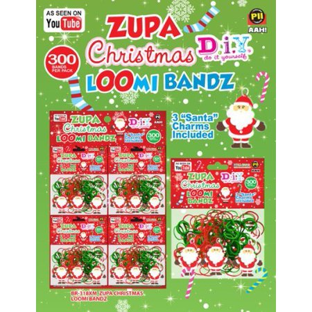 New 1 Pack Christmas Loom Bands  D.I.Y Bands 300-Pack Christmas Bands + 3 Christmas Loom Charms Bonus