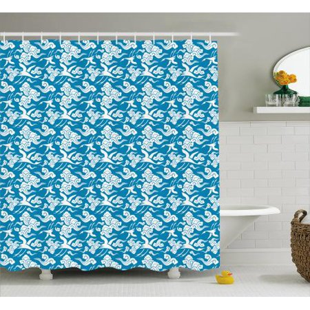 Cloud Shower Curtain Oriental Classical Japanese And Crane Pattern On Blue Toned Background