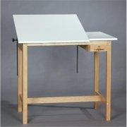 SMI M3660-37STA Medium Oak Finish Split-Top 12 in. Fixed Drafting Table, 36 X 60 in.