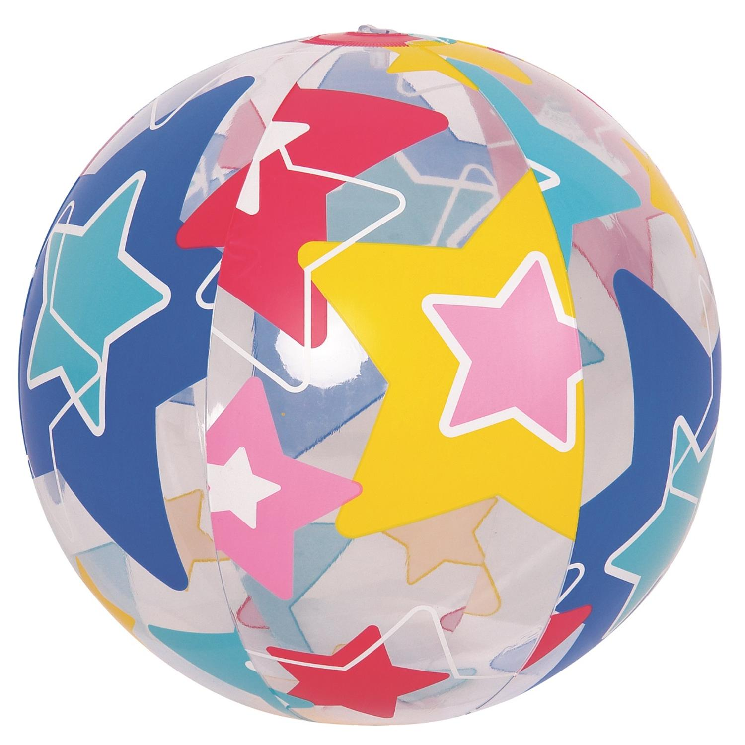 "20"" Colorful 6-Panel Star Print Inflatable Beach Ball Swimming Pool Toy by Pool Central"