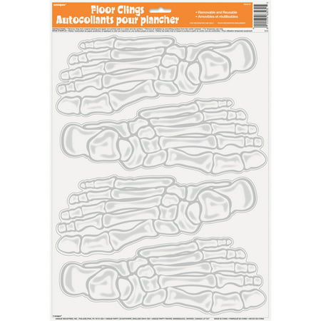 Skeleton Footprint Halloween Floor Clings, 4-Count