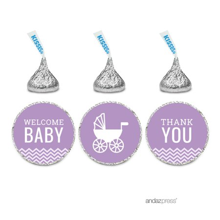 Welcome Baby Lavender Chevron Baby Shower Hershey´s Kisses Stickers, 216-Pack](Wholesale Stickers)