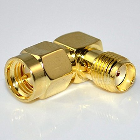 SMA Male Plug to SMA Female Jack Right Angle in series RF Coax Adapter Connector ()