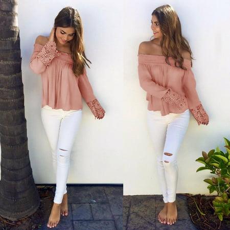 Fashion Women's Light Pink Lace Long Sleeve Shoulder Drop Jacket