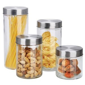4 Piece Round Glass Canisters with Stainless Steel Airtight Screw On