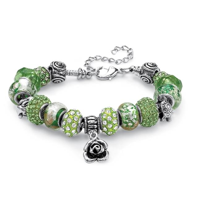 PalmBeach Jewelry 52164 Round Light Green Crystal Silvertone Metal Bali-Style Beaded Charm and Spacer Bracelet 8''