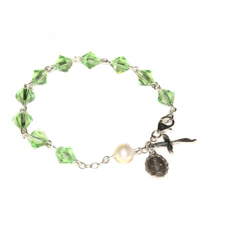Sterling Silver Women's Rosary Bracelet made with Peridot Green Swarovski Crystals and Cultured Freshwater Pearl (August)