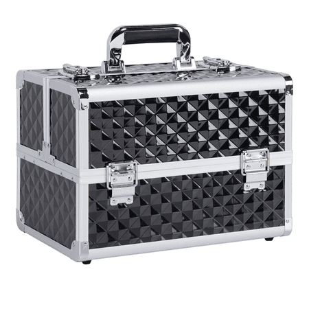 Professional Makeup Case - Yaheetech Professional Beauty Box Makeup Case Cosmetic Case with Adjustable Dividers