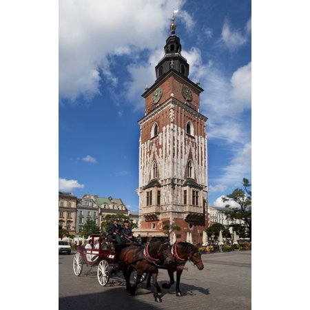 Horse and trap passing Wieza Ratuszowa the 13th Century Town Hall Tower Rynek Glowny The Main Market Square Krakow Poland Canvas Art - Panoramic Images (40 x 24)